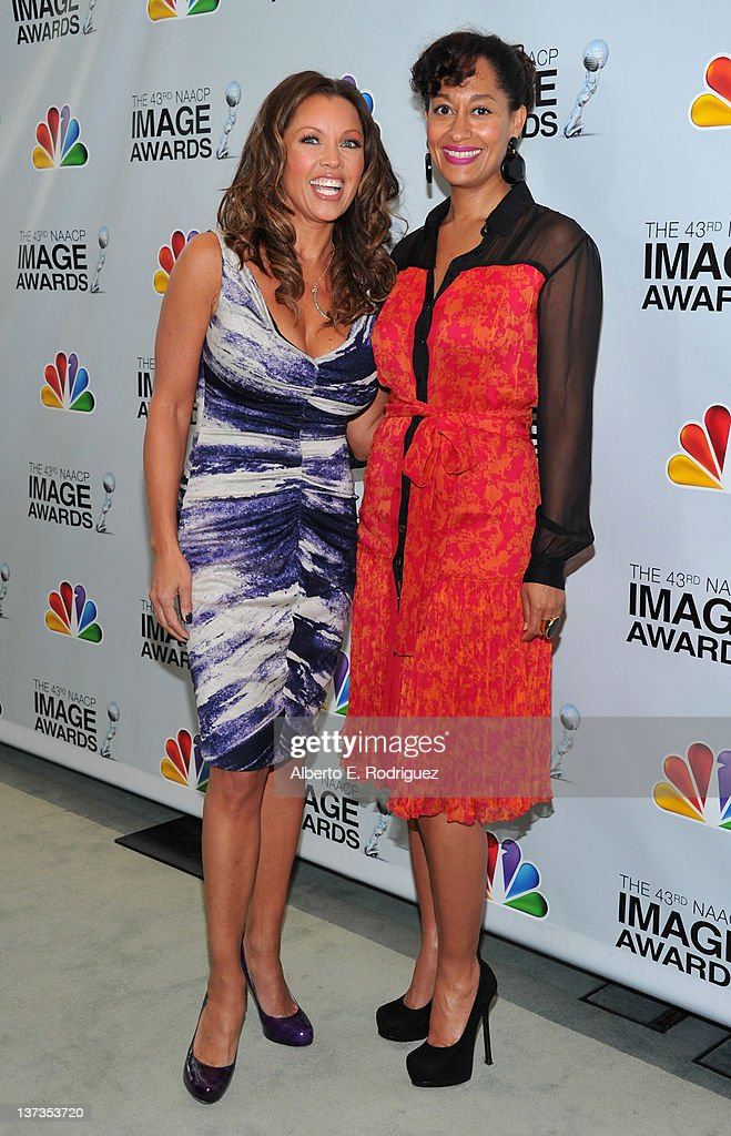 Actors Vanessa Williams and <a gi-track='captionPersonalityLinkClicked' href=/galleries/search?phrase=Tracee+Ellis+Ross&family=editorial&specificpeople=211601 ng-click='$event.stopPropagation()'>Tracee Ellis Ross</a> attend the 43rd NAACP Image Awards Nomination announcement and press conference at The Paley Center for Media on January 19, 2012 in Beverly Hills, California.