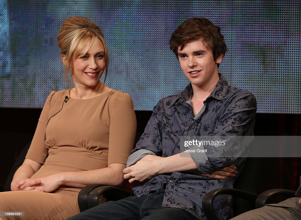 Actors Vera Farmiga and Freddie Highmore attend A&E's 'Bates Motel' TCA Panel at the Langham Hotel on January 4, 2013 in Pasadena, California.