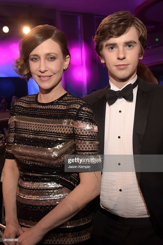 Actors Vera Farmiga and Freddie Highmore attend the 20th annual Critics' Choice Movie Awards at the Hollywood Palladium on January 15 2015 in Los...