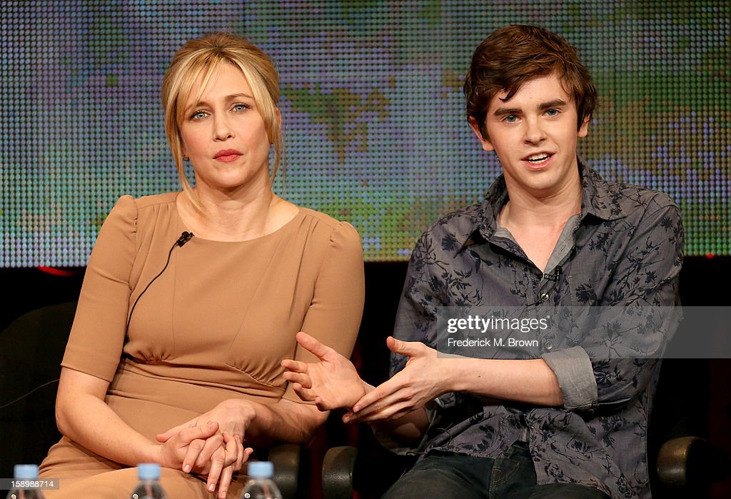 Actors <a gi-track='captionPersonalityLinkClicked' href=/galleries/search?phrase=Vera+Farmiga&family=editorial&specificpeople=227012 ng-click='$event.stopPropagation()'>Vera Farmiga</a> (L) and <a gi-track='captionPersonalityLinkClicked' href=/galleries/search?phrase=Freddie+Highmore&family=editorial&specificpeople=210834 ng-click='$event.stopPropagation()'>Freddie Highmore</a> speak onstage during the 'Bates Motel' panel discussion at the A&E Network portion of the 2013 Winter TCA Tourduring 2013 Winter TCA Tour - Day 1 at Langham Hotel on January 4, 2013 in Pasadena, California.