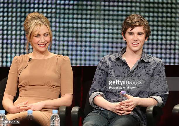Actors Vera Farmiga and Freddie Highmore speak onstage during the 'Bates Motel' panel discussion at the AE Network portion of the 2013 Winter TCA...