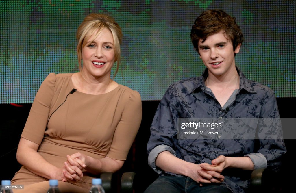 Actors Vera Farmiga (L) and Freddie Highmore speak onstage during the 'Bates Motel' panel discussion at the A&E Network portion of the 2013 Winter TCA Tourduring 2013 Winter TCA Tour - Day 1 at Langham Hotel on January 4, 2013 in Pasadena, California.