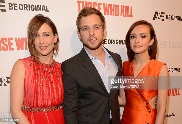 Actors Vera Farmiga Max Thieriot and Olivia Cooke attend AE's 'Bates Motel' and 'Those Who Kill' Premiere Party at Warwick on February 26 2014 in...
