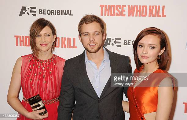 Actors Vera Farmiga Max Thierot and Olivia Cooke arrive at the premiere party for AE's Season 2 of 'Bates Motel' and the series premiere of 'Those...