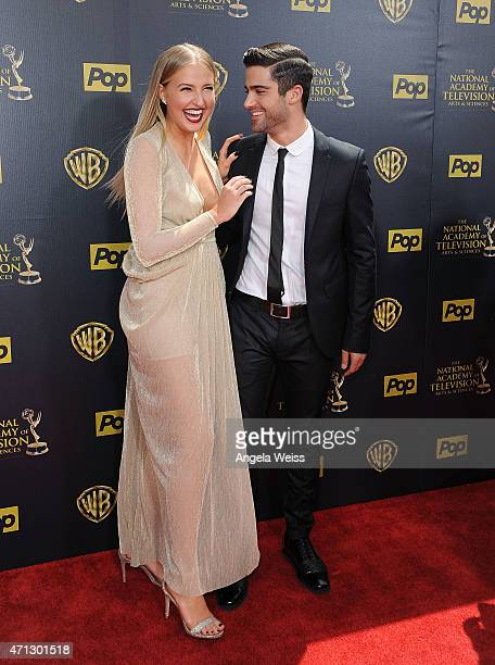 Actors Veronica Dunne and Max Ehrich arrive at the 42nd Annual Daytime Emmy Awards at Warner Bros Studios on April 26 2015 in Burbank California
