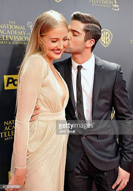 Actors Veronica Dunne and Max Ehrich attend The 42nd Annual Daytime Emmy Awards at Warner Bros Studios on April 26 2015 in Burbank California
