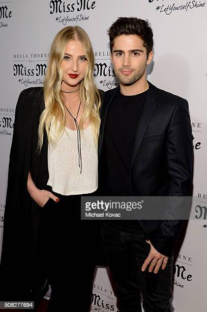 Actors Veronica Dunne and Max Ehrich attends Miss Me and Cosmopolitan's Spring Campaign Launch Event Hosted by Bella Thorne at The Terrace at Sunset...