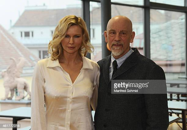 Actors Veronica Ferres and John Malkovich pose for a photograph during the 'Casanova Variations' press conference at Ronacher Theater on January 19...