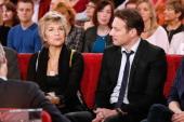 Actors Veronique Jannot and Samuel le Bihan attend the 'Vivement Dimanche' French TV Show at Pavillon Gabriel on November 6 2013 in Paris France