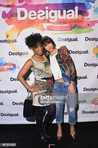 Actors Vicky Jeudy and Jackie Cruz pose backstage at Desigual fashion show during MercedesBenz Fashion Week Fall 2014 at The Theatre at Lincoln...