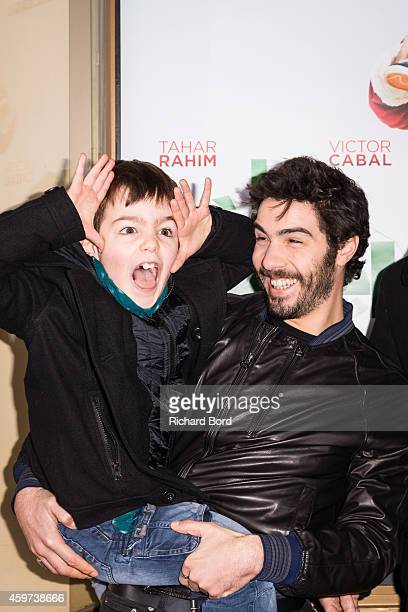 Actors Victor Cabal and Tahar Rahim attend 'Le Pere Noel' movie premiere at cinema Louxor on November 30 2014 in Paris France
