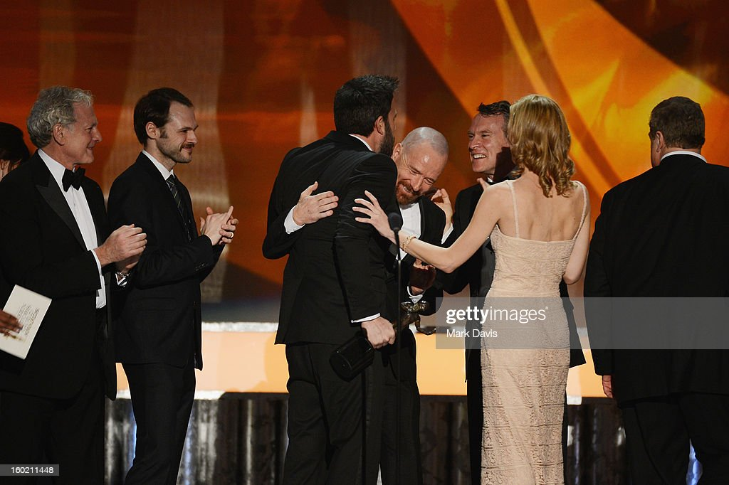 Actors <a gi-track='captionPersonalityLinkClicked' href=/galleries/search?phrase=Victor+Garber&family=editorial&specificpeople=208795 ng-click='$event.stopPropagation()'>Victor Garber</a>; Christopher Denham; <a gi-track='captionPersonalityLinkClicked' href=/galleries/search?phrase=Ben+Affleck&family=editorial&specificpeople=201856 ng-click='$event.stopPropagation()'>Ben Affleck</a> (holding Actor award); <a gi-track='captionPersonalityLinkClicked' href=/galleries/search?phrase=Bryan+Cranston&family=editorial&specificpeople=217768 ng-click='$event.stopPropagation()'>Bryan Cranston</a>; <a gi-track='captionPersonalityLinkClicked' href=/galleries/search?phrase=Tate+Donovan&family=editorial&specificpeople=216433 ng-click='$event.stopPropagation()'>Tate Donovan</a>; <a gi-track='captionPersonalityLinkClicked' href=/galleries/search?phrase=Kerry+Bishe&family=editorial&specificpeople=4584762 ng-click='$event.stopPropagation()'>Kerry Bishe</a>; and <a gi-track='captionPersonalityLinkClicked' href=/galleries/search?phrase=John+Goodman&family=editorial&specificpeople=207076 ng-click='$event.stopPropagation()'>John Goodman</a> celebrate winning the award for Outstanding Performance by a Cast in a Motion Picture for 'Argo' onstage during the 19th Annual Screen Actors Guild Awards held at The Shrine Auditorium on January 27, 2013 in Los Angeles, California.