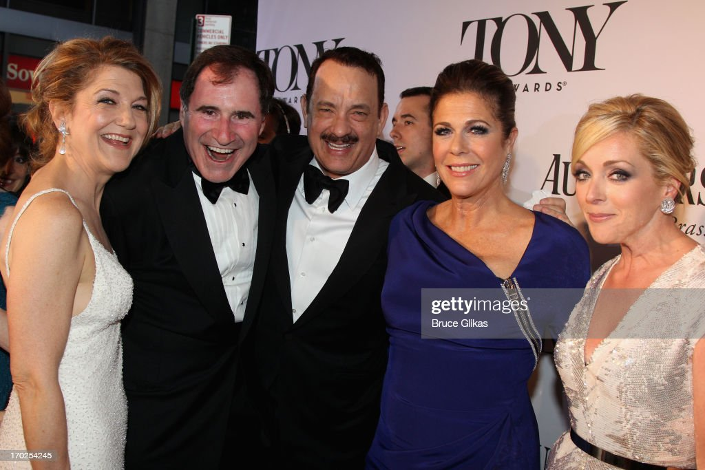 Actors Victoria Clark, <a gi-track='captionPersonalityLinkClicked' href=/galleries/search?phrase=Richard+Kind&family=editorial&specificpeople=216578 ng-click='$event.stopPropagation()'>Richard Kind</a>, <a gi-track='captionPersonalityLinkClicked' href=/galleries/search?phrase=Tom+Hanks&family=editorial&specificpeople=201790 ng-click='$event.stopPropagation()'>Tom Hanks</a>, <a gi-track='captionPersonalityLinkClicked' href=/galleries/search?phrase=Rita+Wilson+-+Actress&family=editorial&specificpeople=202642 ng-click='$event.stopPropagation()'>Rita Wilson</a>, and <a gi-track='captionPersonalityLinkClicked' href=/galleries/search?phrase=Jane+Krakowski&family=editorial&specificpeople=203166 ng-click='$event.stopPropagation()'>Jane Krakowski</a> attend the 67th Annual Tony Awards at Radio City Music Hall on June 9, 2013 in New York City.