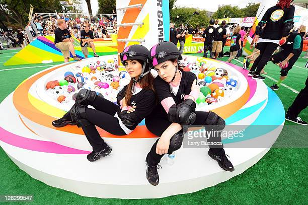 Actors Victoria Justice and Elizabeth Gillies celebrate Nickelodeon's largest ever Worldwide Day of Play at the Ellipse on September 24 2011 in...