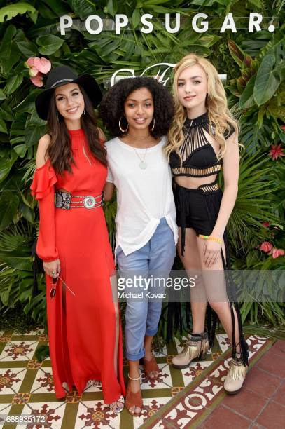 Actors Victoria Justice Yara Shahidi and Peyton List attend POPSUGAR and The Council of Fashion Designers of America's Brunch with Designers Emily...