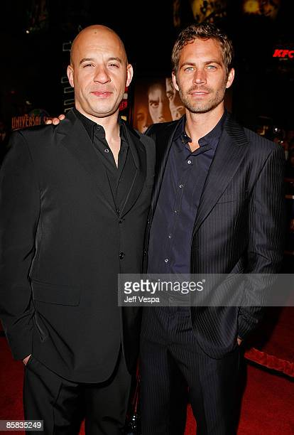 Actors Vin Diesel and Paul Walker arrive on the red carpet of the Los Angeles premiere of 'Fast Furious' held at the Gibson Amphitheatre on March 12...