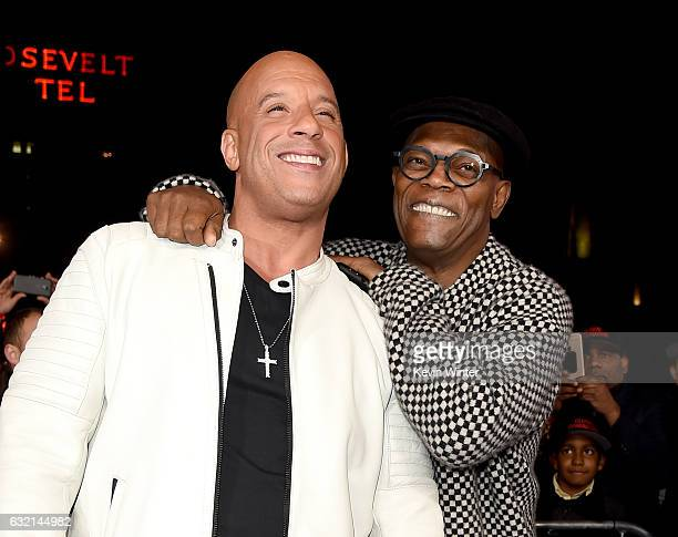 Actors Vin Diesel and Samuel L Jackson arrive at the premiere of Paramount Pictures' 'xXx Return of Xander Cage' at the Chinese Theatre on January 19...