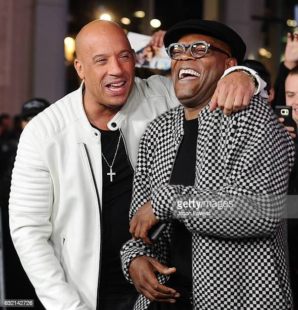 Actors Vin Diesel and Samuel L Jackson attend the premiere of 'xXx Return of Xander Cage' at TCL Chinese Theatre IMAX on January 19 2017 in Hollywood...