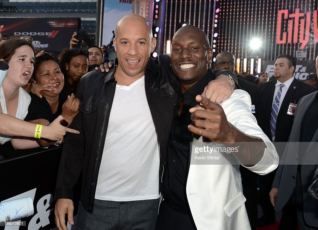 Actors <a gi-track='captionPersonalityLinkClicked' href=/galleries/search?phrase=Vin+Diesel&family=editorial&specificpeople=171983 ng-click='$event.stopPropagation()'>Vin Diesel</a> and <a gi-track='captionPersonalityLinkClicked' href=/galleries/search?phrase=Tyrese&family=editorial&specificpeople=206177 ng-click='$event.stopPropagation()'>Tyrese</a> Gibson arrive at the premiere of Universal Pictures' 'Fast & Furious 6' at Gibson Amphitheatre on May 21, 2013 in Universal City, California.