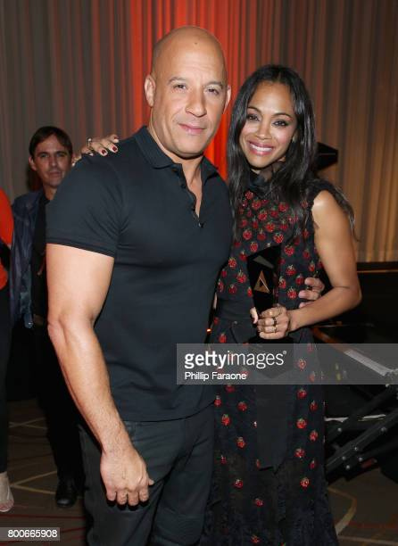 Actors Vin Diesel and Zoe Saldana pose with an award at the NALIP Latino Media Awards at The Ray Dolby Ballroom at Hollywood Highland Center on June...