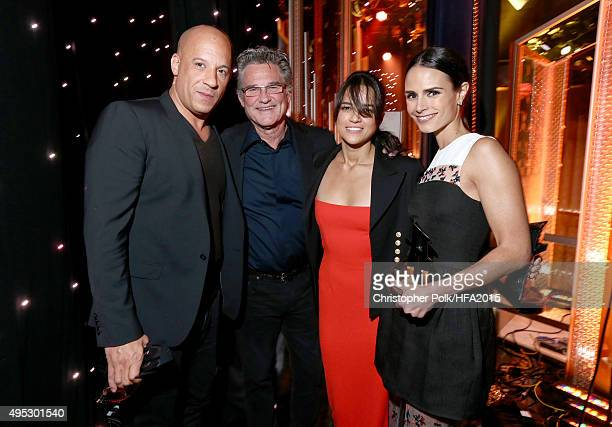 Actors Vin Diesel Kurt Russell Michelle Rodriguez and Jordana Brewster pose with the Hollywood Blockbuster Award for 'Furious 7' during the 19th...
