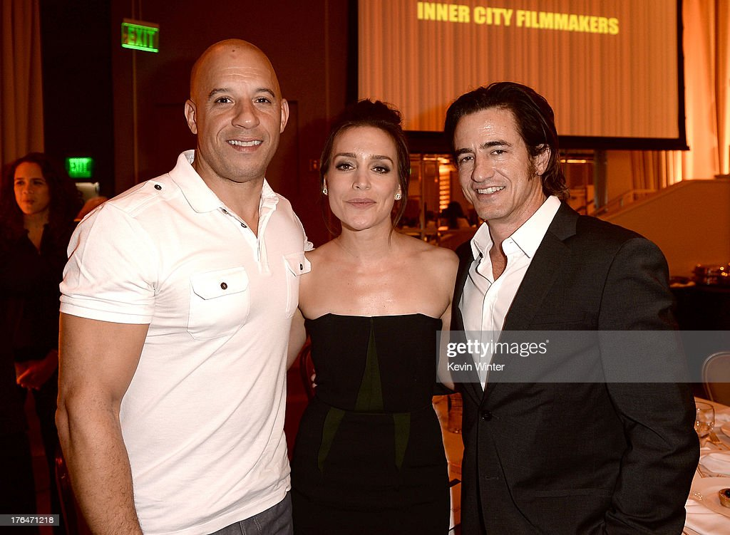 Actors <a gi-track='captionPersonalityLinkClicked' href=/galleries/search?phrase=Vin+Diesel&family=editorial&specificpeople=171983 ng-click='$event.stopPropagation()'>Vin Diesel</a>, <a gi-track='captionPersonalityLinkClicked' href=/galleries/search?phrase=Piper+Perabo&family=editorial&specificpeople=240107 ng-click='$event.stopPropagation()'>Piper Perabo</a> and <a gi-track='captionPersonalityLinkClicked' href=/galleries/search?phrase=Dermot+Mulroney&family=editorial&specificpeople=208776 ng-click='$event.stopPropagation()'>Dermot Mulroney</a> attend the Hollywood Foreign Press Association's 2013 Installation Luncheon at The Beverly Hilton Hotel on August 13, 2013 in Beverly Hills, California.
