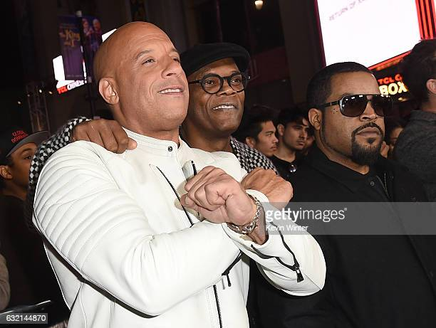 Actors Vin Diesel Samuel L Jackson and Ice Cube arrive at the premiere of Paramount Pictures' 'xXx Return of Xander Cage' at the Chinese Theatre on...