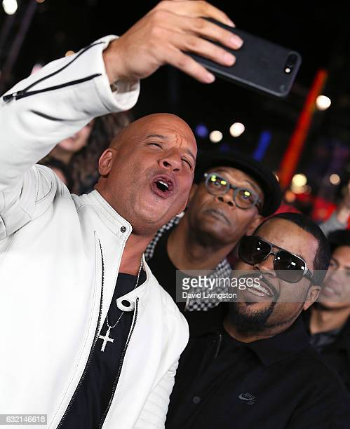 Actors Vin Diesel Samuel L Jackson and Ice Cube attend the premiere of Paramount Pictures' 'xXx Return of Xander Cage' at TCL Chinese Theatre IMAX on...