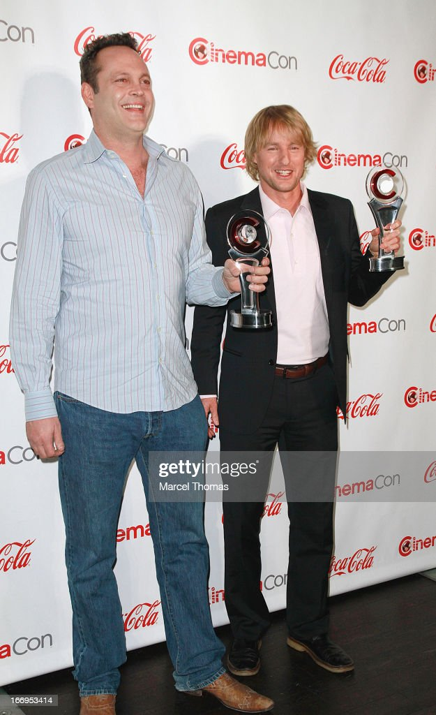 Actors <a gi-track='captionPersonalityLinkClicked' href=/galleries/search?phrase=Vince+Vaughn&family=editorial&specificpeople=182440 ng-click='$event.stopPropagation()'>Vince Vaughn</a> and <a gi-track='captionPersonalityLinkClicked' href=/galleries/search?phrase=Owen+Wilson&family=editorial&specificpeople=202027 ng-click='$event.stopPropagation()'>Owen Wilson</a>, recipients of the Comedy Duo of the Year Award, arrive at the CinemaCon Big Screen Achievement Awards at the Pure Nightclub at Caesars Palace during CinemaCon 2013 on April 18, 2013 in Las Vegas, Nevada.