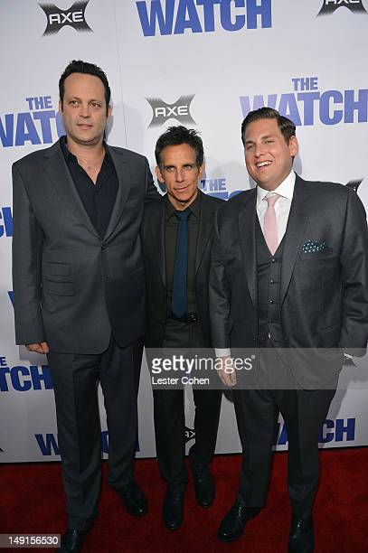 Actors Vince Vaughn Ben Stiller and Jonah Hill arrive at 'The Watch' Los Angeles Premiere at Grauman's Chinese Theatre on July 23 2012 in Hollywood...