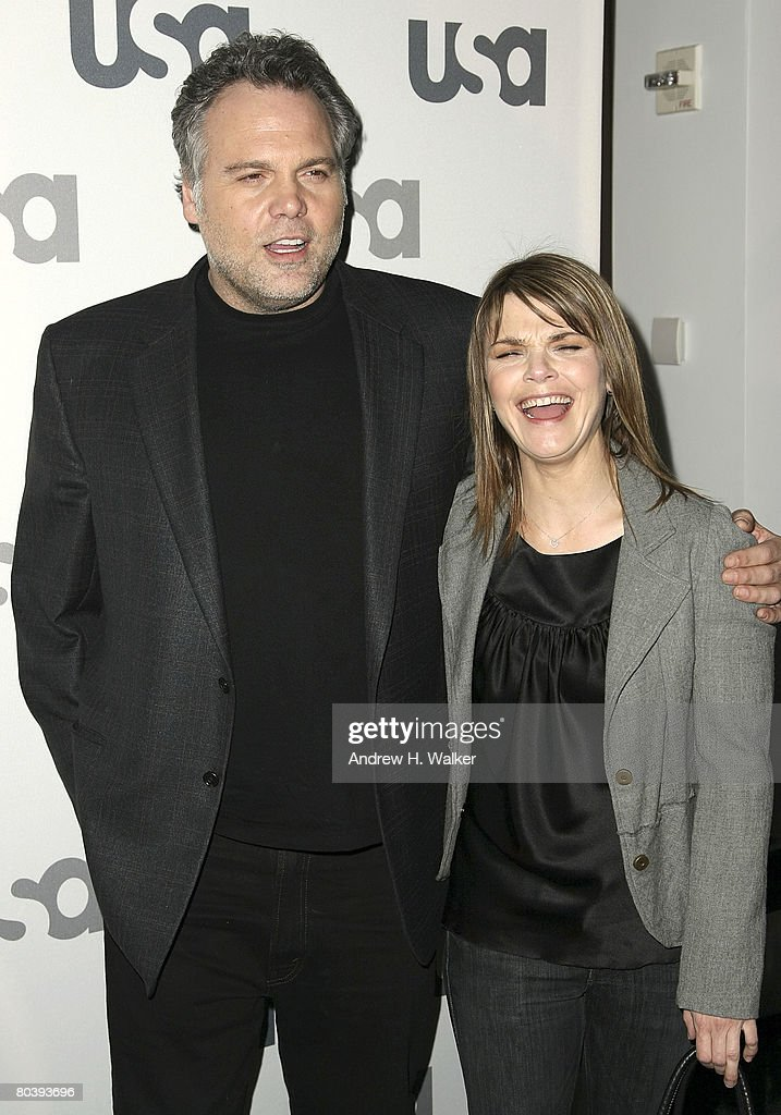 Actors Vincent D'Onofrio and Kathryn Erbe attend the USA Network Upfront at The Modern on March 26, 2008 in New York City.
