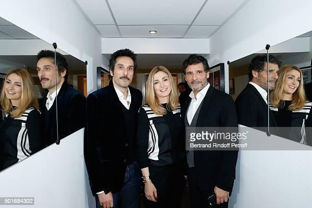 Actors Vincent Elbaz Julie Gayet and Director Pascal Elbe present the Movie 'Je compte sur vous' during the 'Vivement Dimanche' French TV Show at...