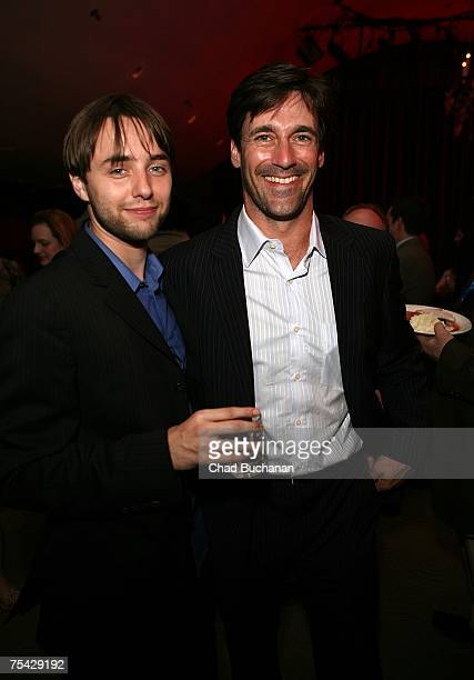 Actors Vincent Kartheiser and Jon Hamm attend AMC's premiere party for 'Mad Men' at The Friars Club on July 15 2007 in Beverly Hills California