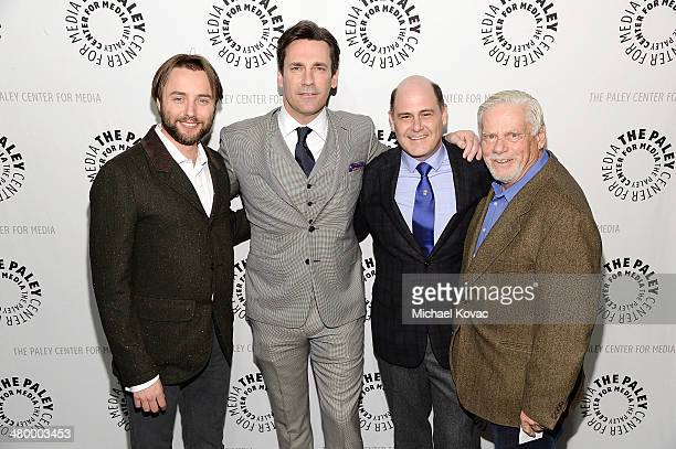 Actors Vincent Kartheiser Jon Hamm producer Matthew Weiner and actor Robert Morse attend The Paley Center For Media's PaleyFest 2014 Honoring 'Mad...
