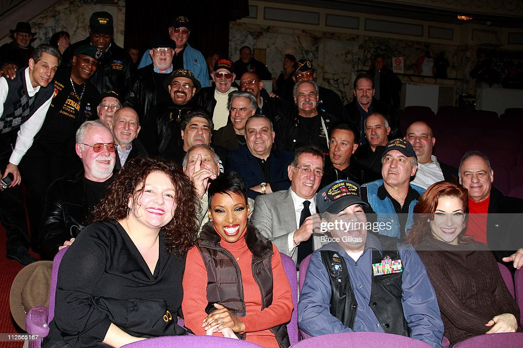 Actors <a gi-track='captionPersonalityLinkClicked' href=/galleries/search?phrase=Vincent+Pastore&family=editorial&specificpeople=215270 ng-click='$event.stopPropagation()'>Vincent Pastore</a>, Tony Darrow, Brenda Braxton, <a gi-track='captionPersonalityLinkClicked' href=/galleries/search?phrase=Dominic+Chianese&family=editorial&specificpeople=175942 ng-click='$event.stopPropagation()'>Dominic Chianese</a>, Michelle DeJean, Frank Pellegrino, <a gi-track='captionPersonalityLinkClicked' href=/galleries/search?phrase=Aida+Turturro&family=editorial&specificpeople=214547 ng-click='$event.stopPropagation()'>Aida Turturro</a> and Vince Curatola with members of The Bronx Veterans Hospital as they visit backstage at 'Chicago' on Broadway at The Ambassador Theater on January 6, 2008 in New York City.
