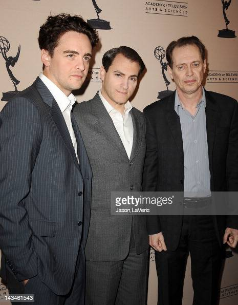 Actors Vincent Piazza Michael Stuhlbarg and Steve Buscemi attend an evening with 'Boardwalk Empire' at Leonard H Goldenson Theatre on April 26 2012...