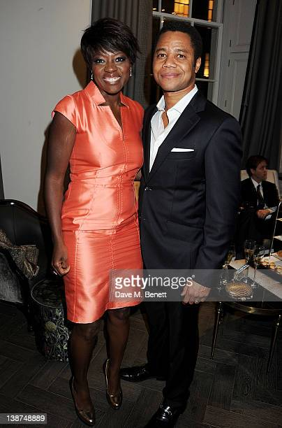 Actors Viola Davis and Cuba Gooding Jr attend the Dreamworks PreBAFTA Tea Party in celebration of 'The Help' and 'War Horse' at The Arts Club on...