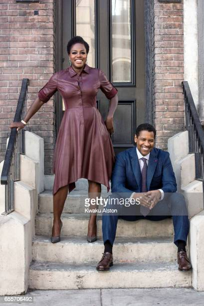 Actors Viola Davis and Denzel Washington are photographed for Essence Magazine on October 1 2016 in Los Angeles California