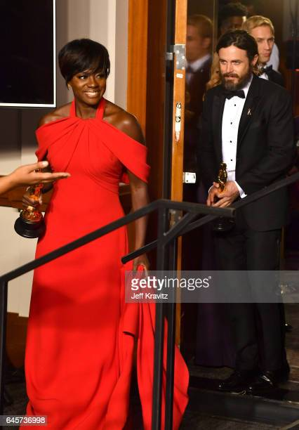 Actors Viola Davis winner of the Best Supporting Actress award for 'Fences' and Casey Affleck winner of Best Actor for 'Manchester by the Sea' pose...