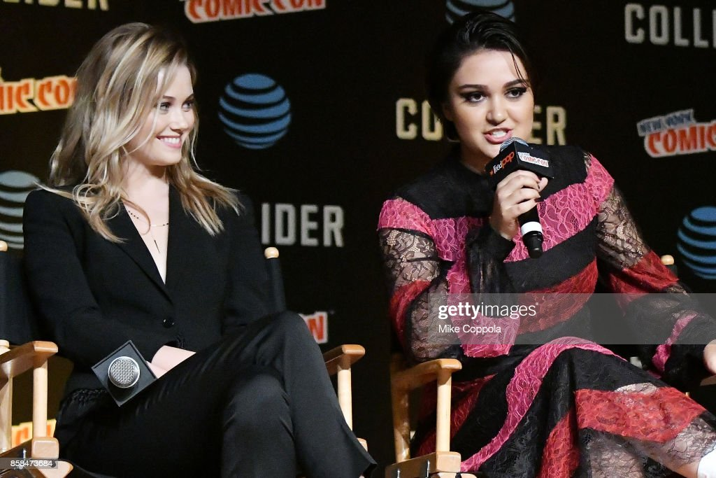 Actors Virginia Gardner (L) and Ariela Barer participate in Hulu's Runaways panel at New York Comic Con at Jacob Javits Center on October 6, 2017 in New York City.