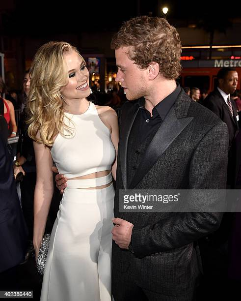 Actors Virginia Gardner and Jonny Weston attend the premiere of Paramount Pictures' 'Project Almanac' at TCL Chinese Theatre on January 27 2015 in...