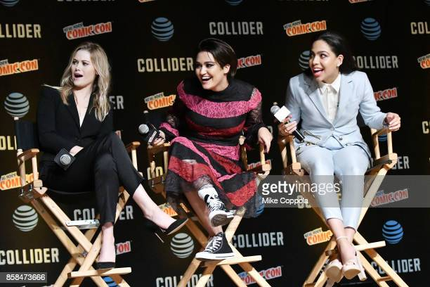 Actors Virginia Gardner Ariela Barer and Allegra Acosta participate in Hulu's Runaways panel at New York Comic Con at Jacob Javits Center on October...