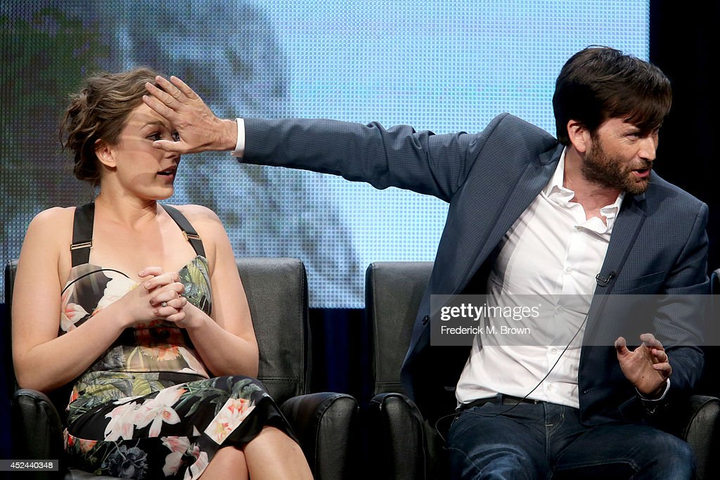 Actors Virginia Kull (L) and <a gi-track='captionPersonalityLinkClicked' href=/galleries/search?phrase=David+Tennant&family=editorial&specificpeople=220227 ng-click='$event.stopPropagation()'>David Tennant</a> speak onstage at the 'Gracepoint' panel during the FOX Network portion of the 2014 Summer Television Critics Association at The Beverly Hilton Hotel on July 20, 2014 in Beverly Hills, California.