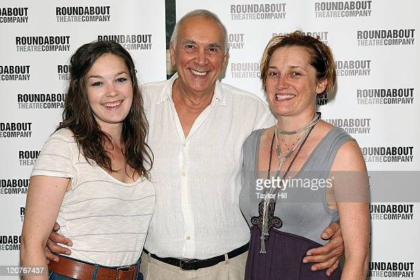 Actors Virginia Kull Frank Langella and Francesca Faridany attend the 'Man and Boy' cast photo call at the Roundabout Theatre Company Rehearsal...