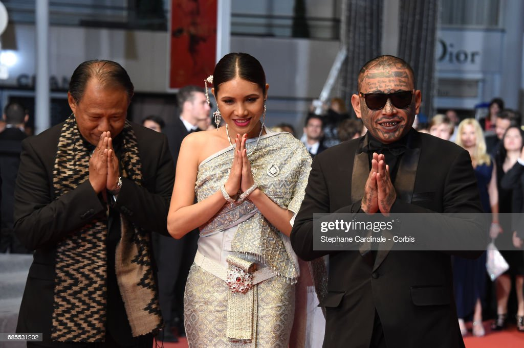 Actors Vithaya Pansringarm, Pornchanok Mabklang and Panya Yimumphai attend the 'A Prayer Before Dawn' screening during the 70th annual Cannes Film Festival at Palais des Festivals on May 19, 2017 in Cannes, France.