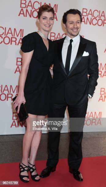 Actors Vittoria Puccini and Stefano Accorsi attend the premiere of 'Baciami Ancora' at Auditorium Conciliazione on January 28 2010 in Rome Italy