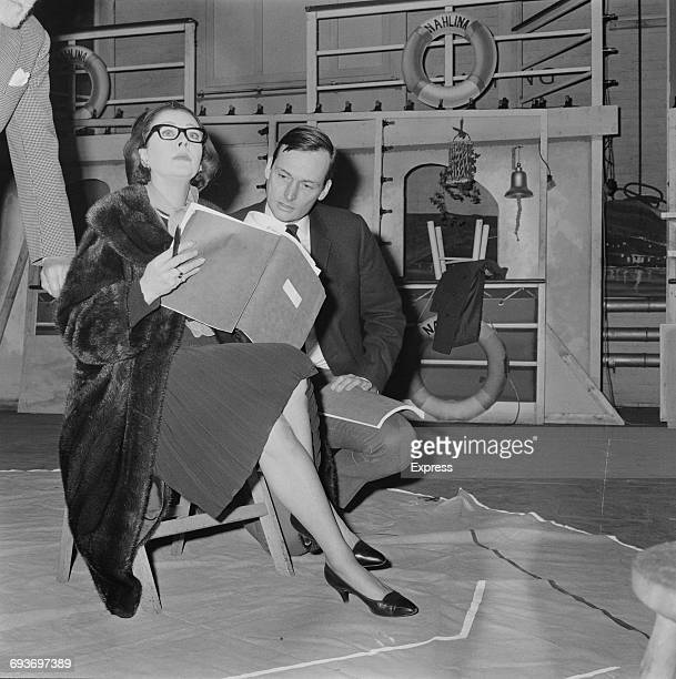 Actors Vivien Leigh and David Knight rehearsing for the play 'La Contessa' by Paul Osborn in a production directed by Robert Helpmann UK 9th March...
