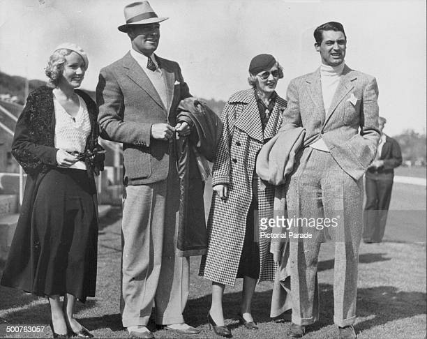 Actors Vivienne Gaye Randolph Scott Virginia Cherrill and Cary Grant at the Riviera Country Club California circa 19341935