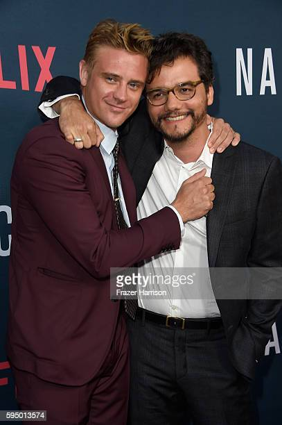 Actors Wagner Moura and Boyd Holbrook attend the Premiere of Netflix's 'Narcos' Season 2 at ArcLight Cinemas on August 24 2016 in Hollywood California