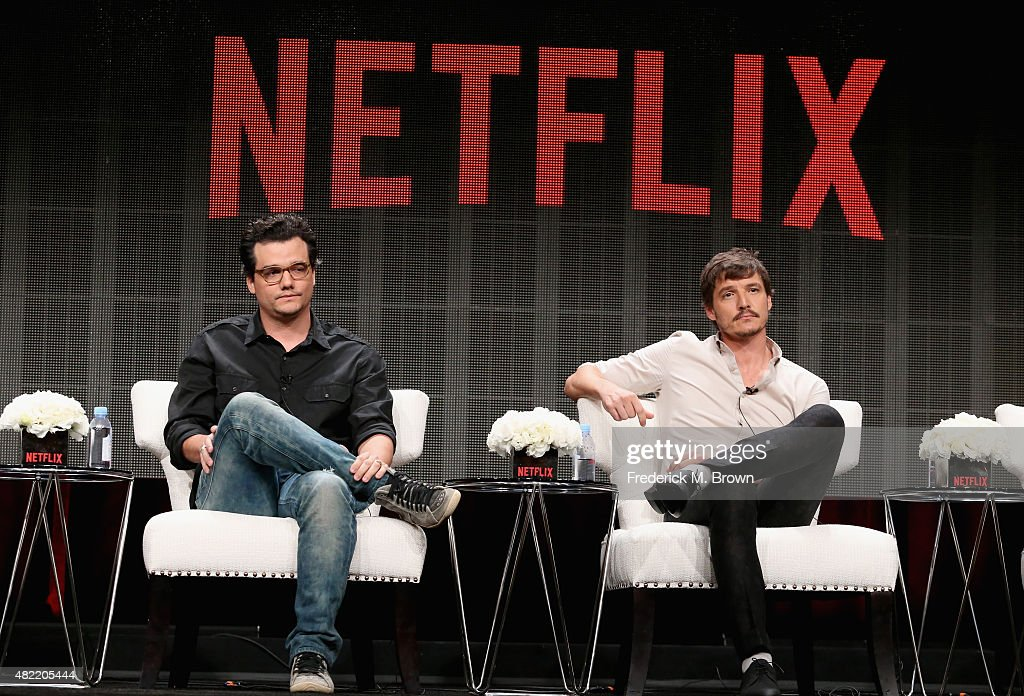 Actors Wagner Moura and Pedro Pascal speak onstage during the 'Narcos' panel discussion at the Netflix portion of the 2015 Summer TCA Tour at The...